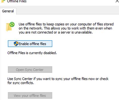 Enable offline files on Windows 10