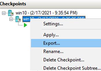 export vm via checkpoint