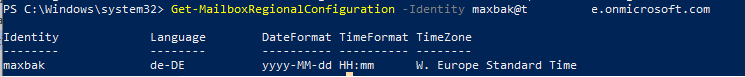 Get-MailboxRegionalConfiguration