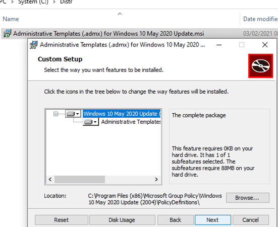 install new admx gpo templates