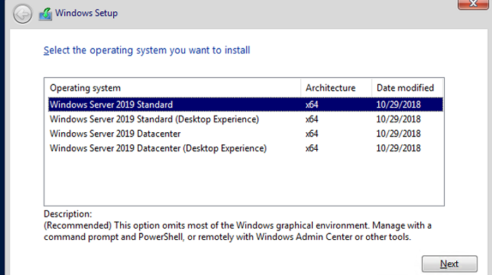 installing windows server core 2019 without desktop experience