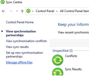 Manage Offline Files on Windows 10