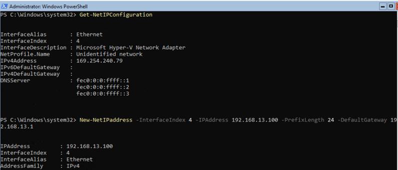 New-NetIPaddress: windows server core set IP address using PowerShell