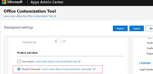 Office Customization Tool - Shared Computer Activation