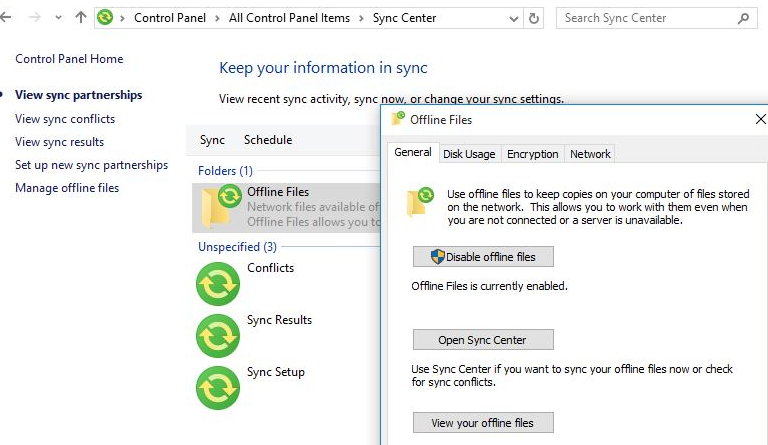 offline file synchronization on windows 10