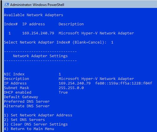 sconfig on server core setting static IP address