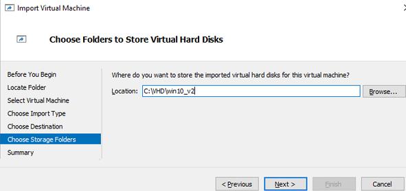 select folder to store VM hard disks