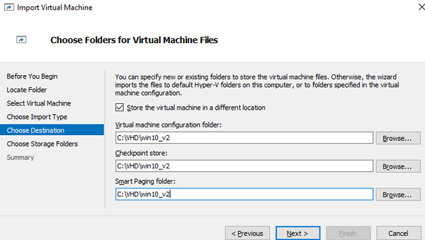 select VM folder during import