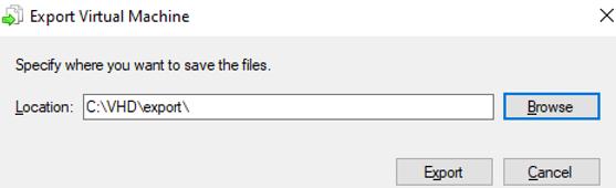 specify folder to export hyper-v