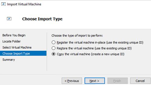 VM importing virtual machine ID