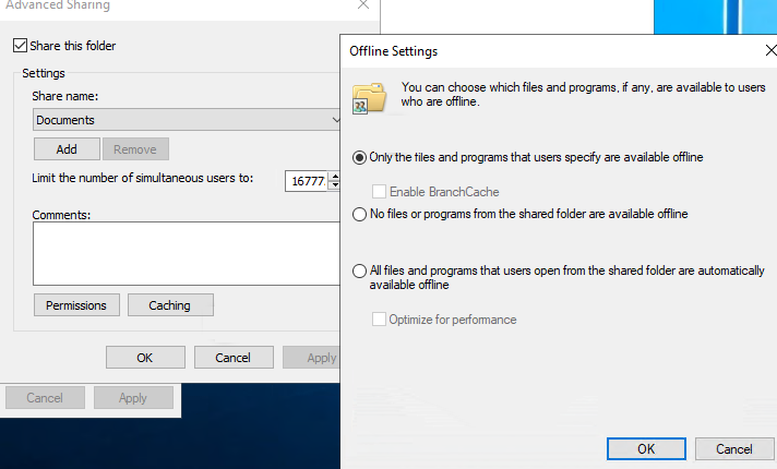 windows 10 - allow or disable files to be available offline