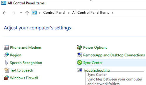 windows 10 offline files in sync center