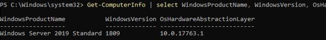 windows server core get information