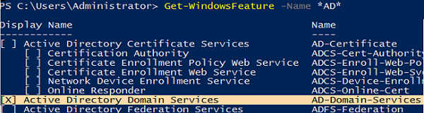 ADDS role is installed on WIndows Server Core 2019