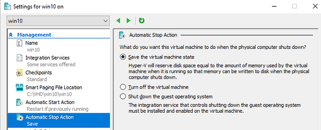 Automatic Stop Action for Hyper-V VM