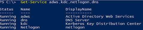 check Active Directory services state on domain controller
