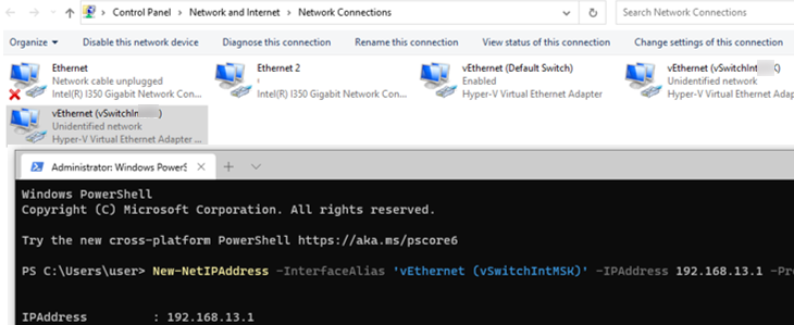 configure ip address for hyper-v switches