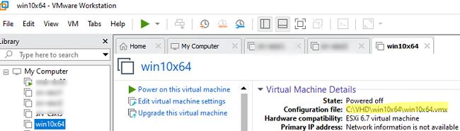 get configuration file VMX path of VMWare VM