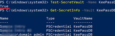 Get-SecretInfo - getting secret from keepass database
