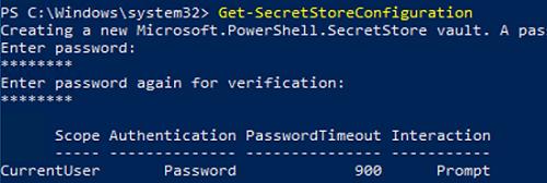 Get-SecretStoreConfiguration powershell