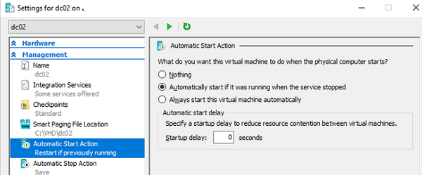 hyper-v configure automatic strat action for virtual machine