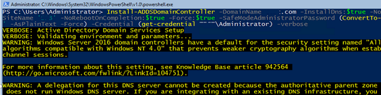 Install-ADDSDomainController install additional active directory domain controller on windows server core