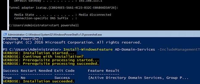 Install-WindowsFeature AD-Domain-Services on Windows Server Core