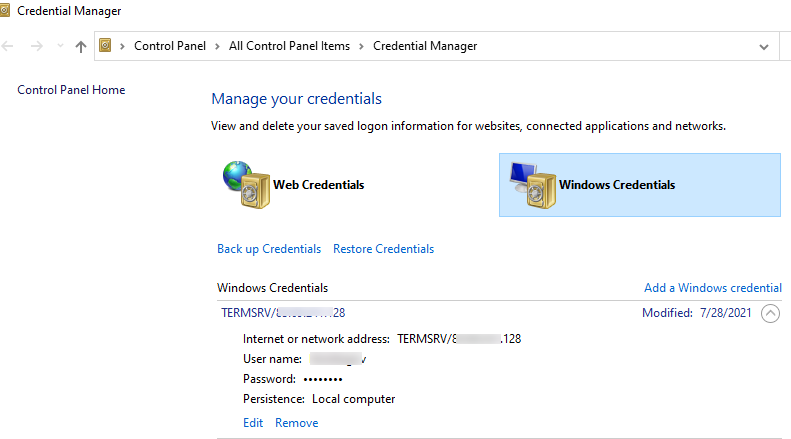 list saved credential in windows