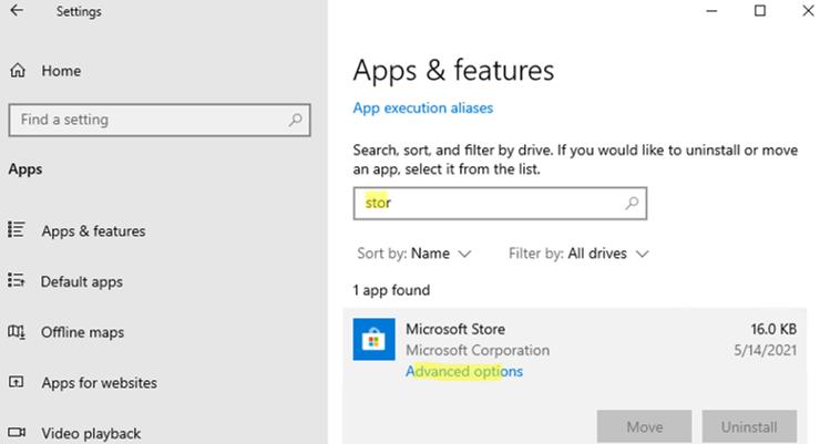 Microsoft store app installed on windows 10