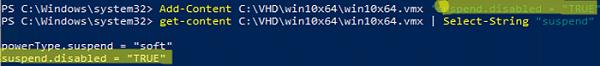 powershell disable autosuspend for vware workstation VM