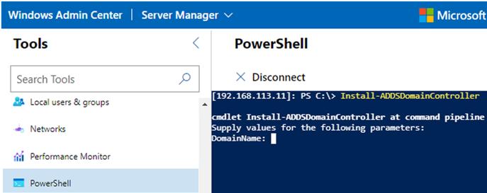 prome windows server to AD domain controller via WAC