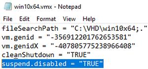 "set suspend.disabled = ""TRUE"" in vmx VM file"