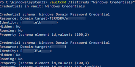 vaultcmd - manage saved windows credentials command prompt