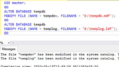 alter sql server temdb file path