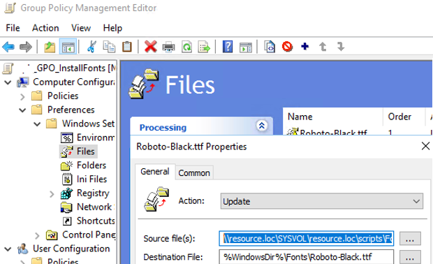 copy font file to computer using group policy