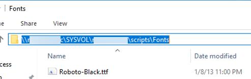 copy font files to share folder