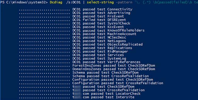 Dcdiag summary report powershell script