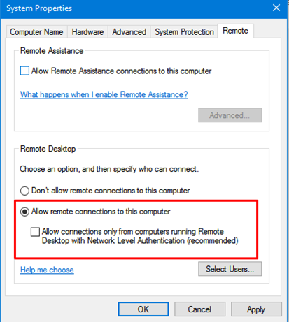 disable NLA for Remote Desktop