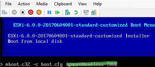 esxi enable headless mode (ignoreHeadless=TRUE)
