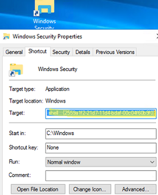 file explorer shortcut to change password