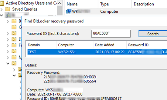 find BitLocker recovery password in Active Directory by key ID