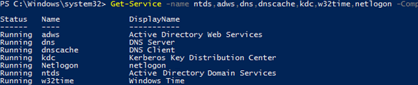 get adds services states on a domain controller