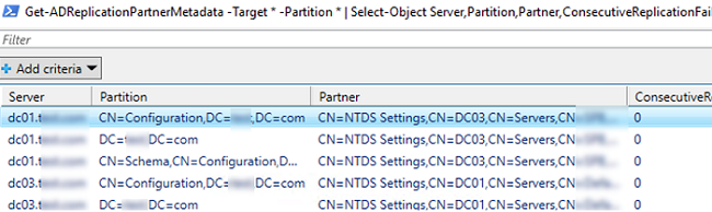 Get-ADReplicationPartnerMetadata shows an replication partner metadata object for each of its replication partners (domain controllers)