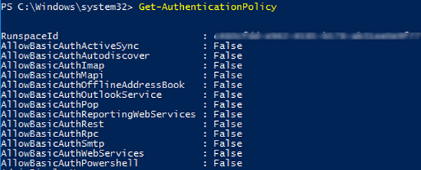 Get-AuthenticationPolicy - check basic authentication protocols allowed to use in office 365