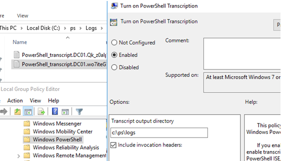 GPO option: Turn on PowerShell Transcription