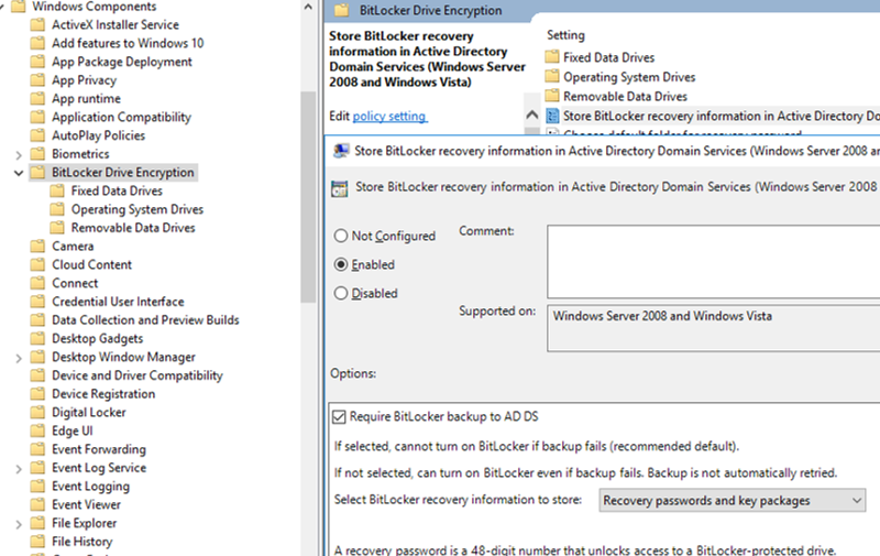 GPO: Store BitLocker recovery information in Active Directory Domain Services