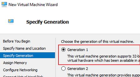 hyper-v generation 1 VM for esxi image