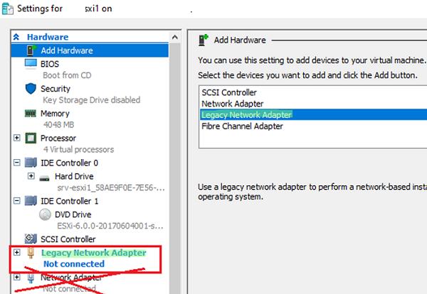 lagacy hyper-v network adapter for esxi VM