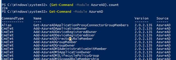 list cmdlets in the AzureAD module
