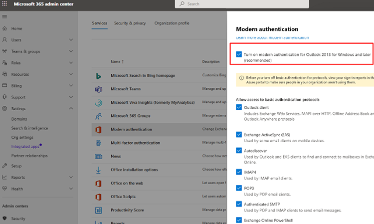 microsoft 365 admin center - Turn on modern authentication for Outlook 2013 for Windows and later